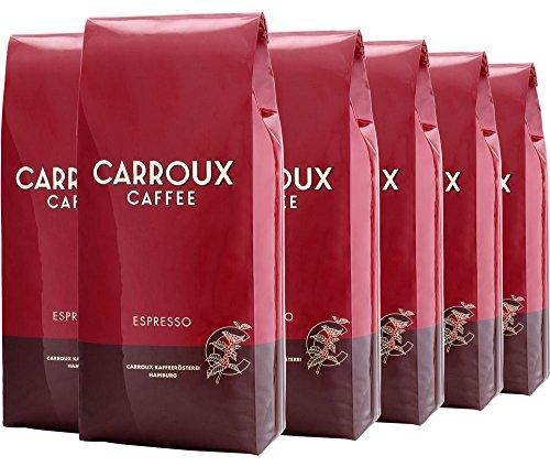 CARROUX ESPRESSO - Direkt ab Kaffeerösterei Hamburg - Feinster Espresso - Frisch geröstete Kaffeebohnen - Elegant u. intensiv im Geschmack (6x 500g)