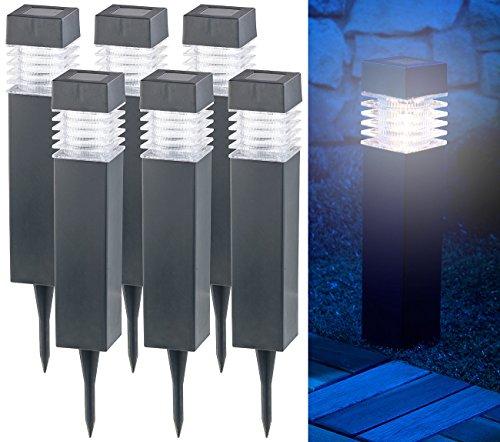 Lunartec Solar Gartenlampen: 6er-Set Moderne Solar-LED-Wegeleuchten mit Dämmerungs-Sensor (Garten-Solarleuchten LED)
