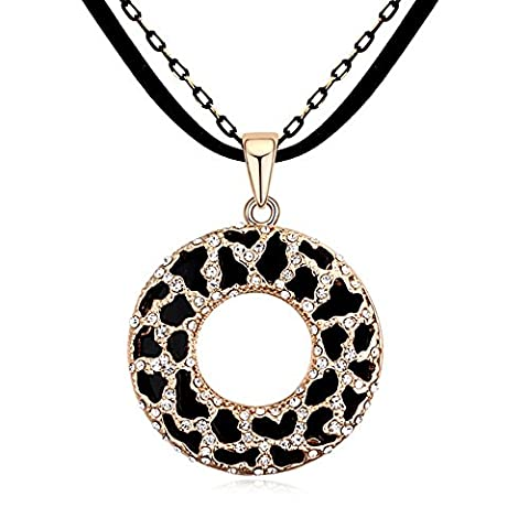 Clearance Sale-MARENJA Crystal-Leopard Circle Medallion Pendant Long Necklace For Women 30in/75cm