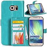 Handyhülle | Tasche | Cover | Case für das Samsung Galaxy S6 / SM-G920 von DONZO in Türkis Wallet Washed als Etui seitli