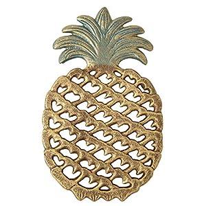 Comfify Untersetzer in Ananasform aus Gusseisen -Dekorativer Ananasuntersetzer aus Gusseisen für Küche oder Esstisch - Modernes, trendiges Design - Mit Gummifüßen - Recyceltes Metall