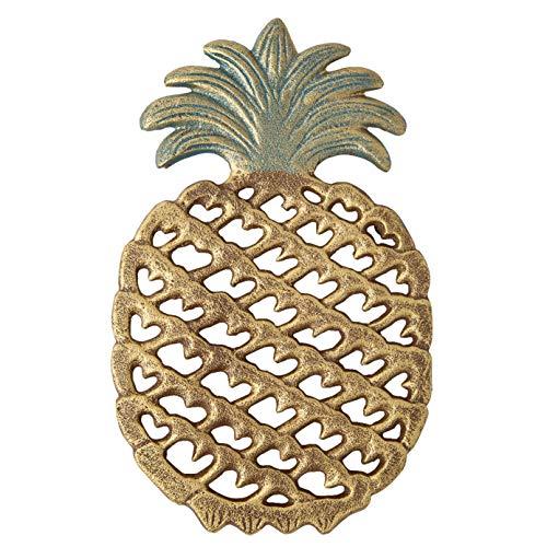 in Ananasform aus Gusseisen -Dekorativer Ananasuntersetzer aus Gusseisen für Küche oder Esstisch - Modernes, trendiges Design - Mit Gummifüßen - Recyceltes Metall ()