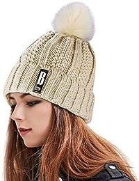 Proking Bonnet Femme Fille, Bonnet en Tricot et Fourré Chaud Crochet Laine  Mesdames trapu Douce câble avec Confortable Doublure… b262c4502ba