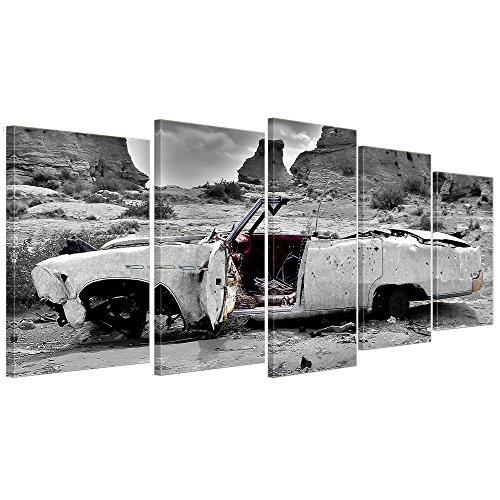 bilderdepot24-toile-deco-imprimee-cadillac-blanc-200x80-cm-5-piece-tableau-sur-toile-image-sur-toile