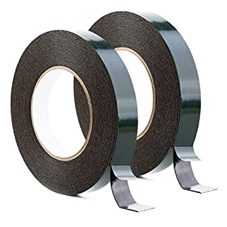 Maveek Foam Tape (2-Pack) 20mm x 10m Double Sided Sponge Tape Waterproof Mounting Adhesive Tape Roll Cars Trims, Black