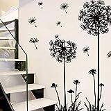 Internet PVC negro diente de león flor de la planta extraíble Inicio Vinilos decorativos