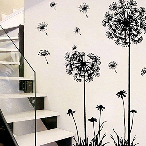 ✽Internet✽ PVC negro diente de león flor de la planta extraíble Inicio Vinilos decorativos