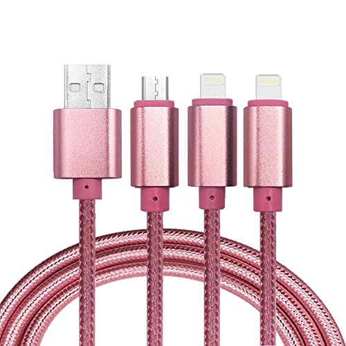 Aventus (Rosa Oro) Alta Qualità 3 in 1 Cavo Dati / Ricarica di Nylon Intrecciato (Motorola Viaggi Adattatore)