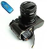 First2savvv XJD-XT1-D01G10 negro Funda Cámara cuero de la PU cámara digital bolsa caso cubierta para FUJIFILM X-T1 XT1 + Lector de tarjetas SD