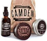 Camden Barbershop Company: Kit d'entretien de la barbe ● Huile, Baume et brosse pour barbe ● eBook inclus ● Soins 100% naturels