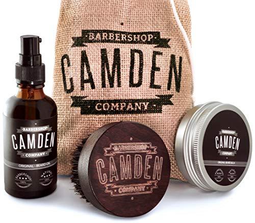 Camden Barbershop Company: Deluxe Bartpflege-Set - Bart-Öl, Bartwachs & Walnussholz-Bartbürste - 100% Natürlich - Geschenk-Set für Männer (Produkte Beliebteste)