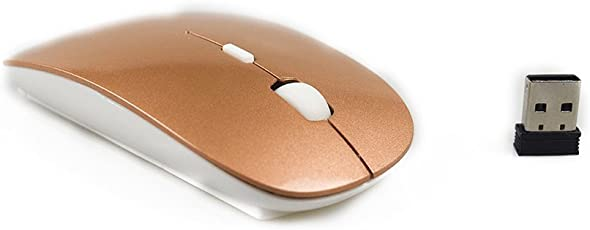 Ultra-Thin 2.4G Wireless Mini Mouse Cordless Gaming Mice for PC/Laptop/Notebook/Android OS Tablet (Gold)