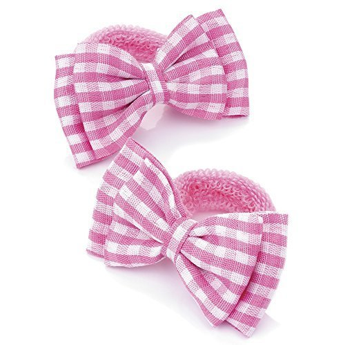 2 Girls Pink Gingham Bow Hair Ponios/Bands AJ25796 by For ()