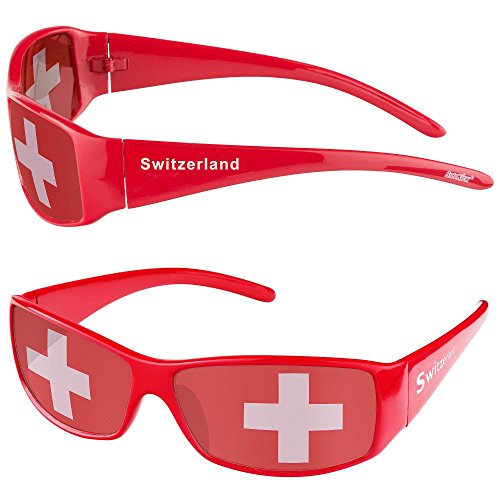 Taffstyle® Fanartikel Sonnenbrille Fan Brille zur Fussball Weltmeisterschaft WM & EM Europameisterschaft 2016 Länder Flagge Style Schweiz