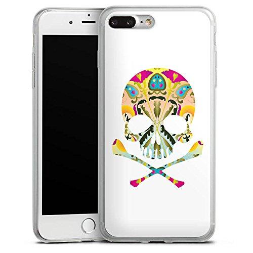 Apple iPhone 8 Plus Slim Case Silikon Hülle Schutzhülle Decorative Skull Totenkopf Schädel Silikon Slim Case transparent