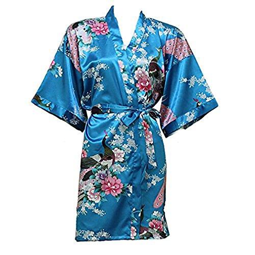 Artiwa Damen Kimono Style Satin Bademantel–Pfau & Blossom Design Blau hellblau Einheitsgröße (Blossom Bademantel)