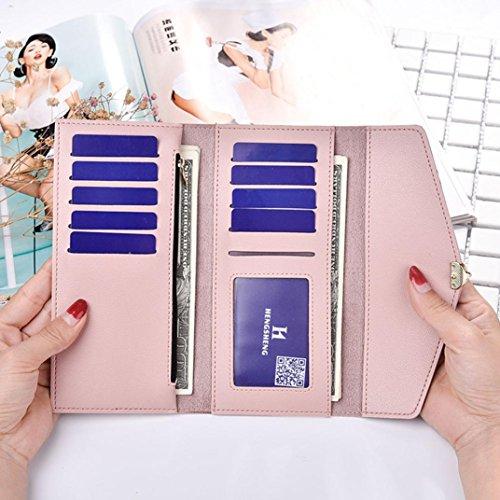 Portafoglio Donna, Tpulling Borsa lunga della borsa della frizione di svago di tempo della borsa del cuoio di modo delle donne (Light Blue) Pink