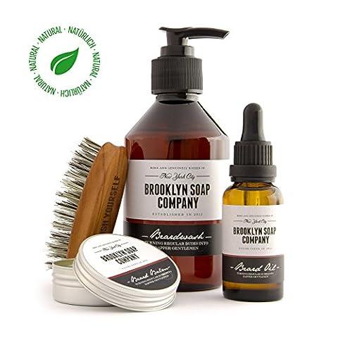 Kit barbe: Big Beard Bag ✔contient shampoing et huile à barbe, baume pour la barbe et brosse à barbe ✔cosmétiques naturels de la BROOKLYN SOAP COMPANY ®✔ idée cadeau pour l'homme ou ensemble de voyage