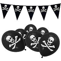 Pirate Jolly Roger Skull & Crossbones Balloons & Bunting Party Set - Black