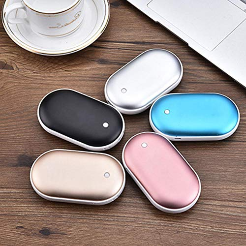 Chauffe Main Réchauffeur de main électrique-Réchauffeur Rechargeable de Main de la Batterie 5200mAh, Réchaud électrique portatif USB Chargeur de batterie externe mobile de chauffage Double-face