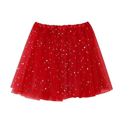 VEMOW Elegante Damen Tutu Petticoat Womens Karneval Short Rock Plissee Gaze Kurzen Rock Erwachsene Tutu Tanzen Rock für Rockabilly Kleid(Rot, Einheitsgröße)