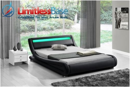 New Faux Leather Designer Rio LED Bedframe Available In A Range Of