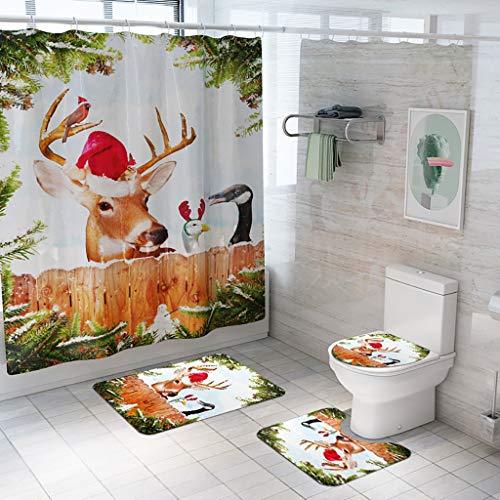 VICKY-HOHO Badezimmer-Set von Vier, Santa Weihnachten Druck