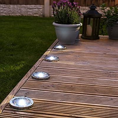 Edelstahl Solar Terassen-Leuchten, 4er Pack von Festive Lights