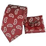 Set Hi-Tie de pañuelo y corbata de seda con estampado de cachemir, y gemelos, para hombre Rosa rosa