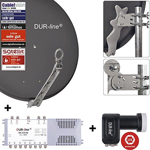 DUR-line 8 Teilnehmer Set - Qualitäts-Alu-Satelliten-Komplettanlage - Select 75/80cm Spiegel/Schüssel Anthrazit + Multischalter + LNB - für 8 Receiver/TV [Neuste Technik, DVB-S2, 4K, 3D]