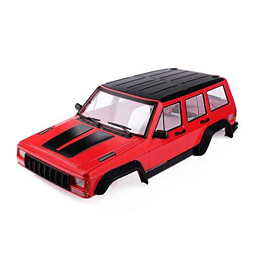 INJORA RC Auto Karosserie Cherokee Car Shell für 313mm Radstand 1/10 RC Crawler Axial SCX10 & SCX10 II 90046 90047 (Painted Hartplastik Rot)