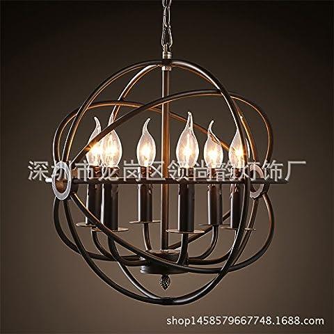 FUMIMID-Americano-scandinavo retr¨° tondo lampada in ferro battuto candela lampadario lampada gabbia ristorante bar