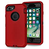 Xylo® Dual Protect Heavy Duty Dust/Shock Proof Case Cover For Apple iPhone 8, 7, 6S & 6 With Built In Screen Protector - Red & Black