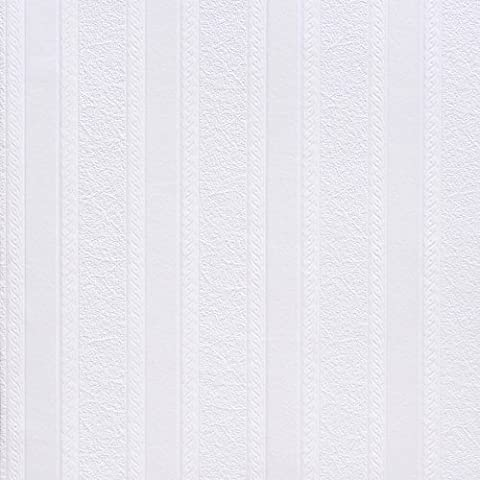 Brewster RD80011 Anaglypta Paintable 2-Inch Fibrous Stripe with Scroll Wallpaper,
