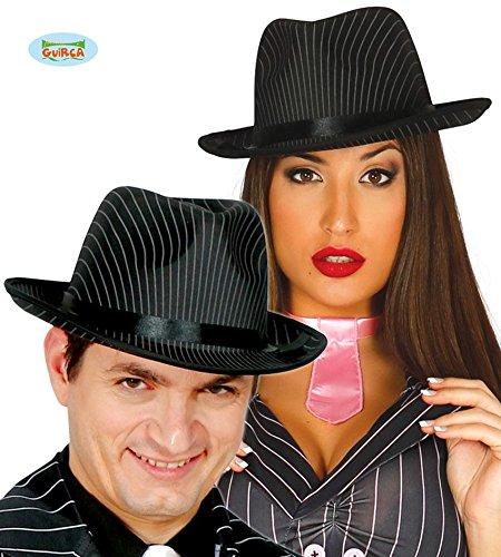 HUT - GANGSTER - mit Nadelstreifen, 59 cm, Al Capone 20er 30er Jahre Amerika Mafia (Amerika Themen Halloween Kostüme)