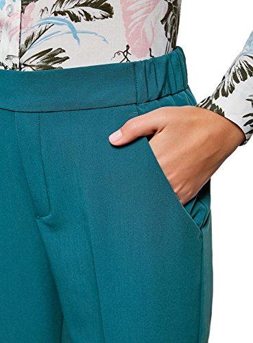 oodji Ultra Damen Enge Hose mit Elastischem Bund Blau (7400N)