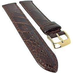 Minott watch strap Ostrich Leg Leather-Glossy Hautfreundluches Leather 29988G Bridge Width: 13mm, Colour: Dark brown