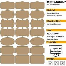 Mr-Label® 7 Tipos de Forma de lujo de Brown Kraft etiquetas engomadas adhesivas -Self para la decoración de regalos | arte de la mano | Finishing Touch ...