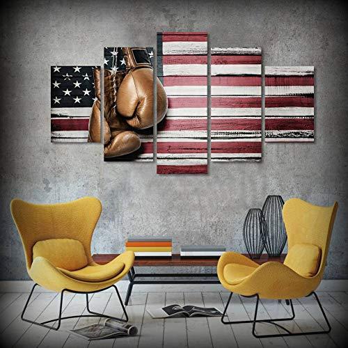 HUDEHUA Moderne Wandkunst Leinwand Hd Print Ölgemälde Modulare Poster 5 Panel Boxing Pride Handschuh Amerikanische Flagge Decor Bilder