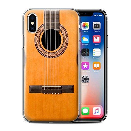 Stuff4 Gel TPU Hülle / Case für Apple iPhone X/10 / Semi Akustik Muster / Gitarre Kollektion Holz Akustische