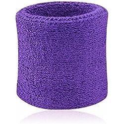 Hombres Mujeres Deportes Banda de sudor Tenis Squash Badminton tela de toalla muñeca bandas de sudor Baloncesto Gimnasio muñeca del Wraps Púrpura 8cm*7.5cm