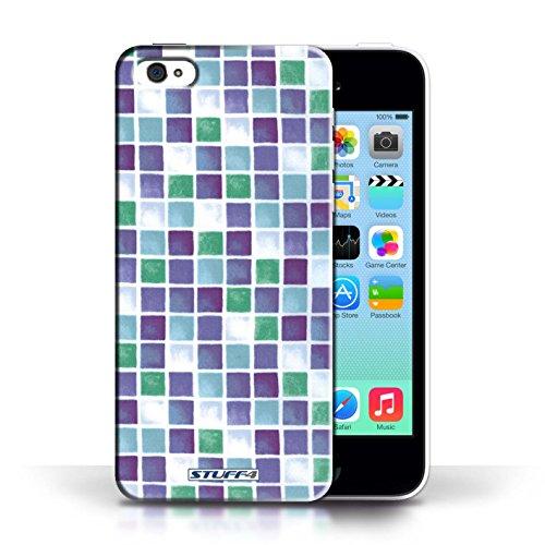 iCHOOSE Print Motif Coque de protection Case / Plastique manchon de telephone Coque pour Apple iPhone 5C / Collection Carreau Bain / Bleu/Vert Violet/Vert