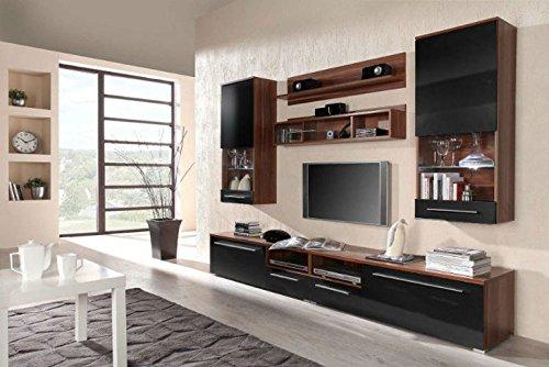 """Moderne TV Wohnwand """"Luna"""" in Schwarz / Pflaume hochglanz. Schöner Wohnzimmer-Schrank mit Vitrine aus stabilem MDF Holz. Anbauwand inkl. LED Beleuchtung. Der Blickfang in jedem Wohnzimmer."""
