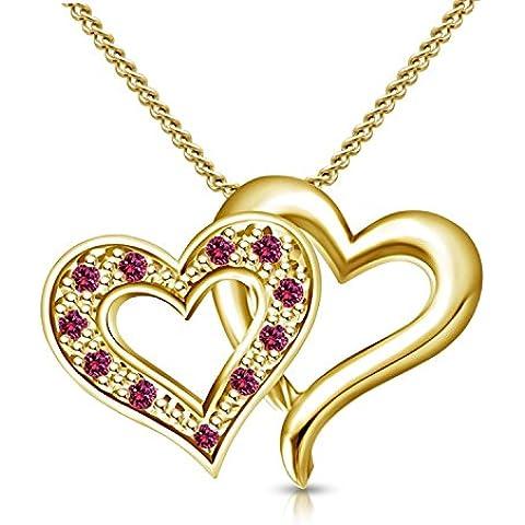 Vorra Elegant Lady Fashion Jewellery-Ciondolo da donna a forma di cuore, con collana, in argento 925, con zaffiro rosa