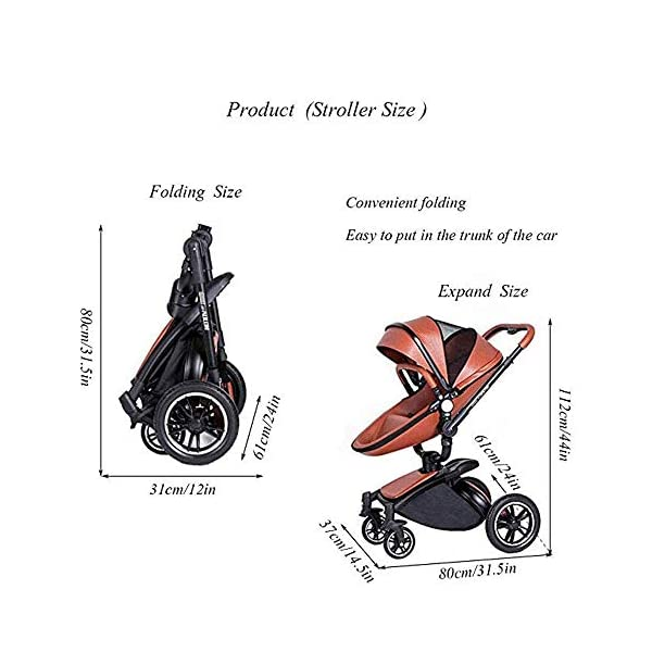 Yyqt Baby Carriage,with Buggy Top and Carrycot Travel System Feature New 2019, Stroller 2 in 1, it Includes Specifications: Eggshell Seat, Sleeping Basket, Red Seat Cushion (Color : Pink) Yyqt ♥360-degree swivel seat, high-quality leather, aluminum alloy frame (for safety reasons, the seat rotates 90 degrees and locks automatically.) If you want to turn again, turn the knob again) can be used as a cradle ♥Sports car seat: can be used in and against the direction of travel. The seat can easily be used in or against the direction of travel and a resting position in both directions is possible for a nap. ♥Cross-country stroller includes: red seat pad for babies, baby frame and eggshell chair, sleeping basket, car safety seat, 7
