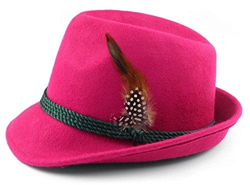 Trachten-Hut Vroni in angesagter Trendfarbe mit echter Feder fuchsia 100% Wolle Größe 59 (Nike-jungen Rosa Socken)