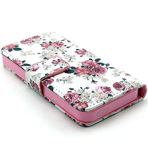 Più colorate Ancerson in pelle PU Flip Custodia per cellulare per Apple iPhone 5/5S/5G in pittura ad olio Stil Colorful Painting Custodia Flip Case Custodia in similpelle custodia per cellulare con fu Fiore