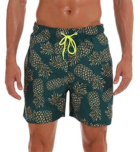 KISSMODA Herren Badehose Klassische Netzfutter Surf Beach Wear Shorts Bademode Badeanzüge Ananas Grün