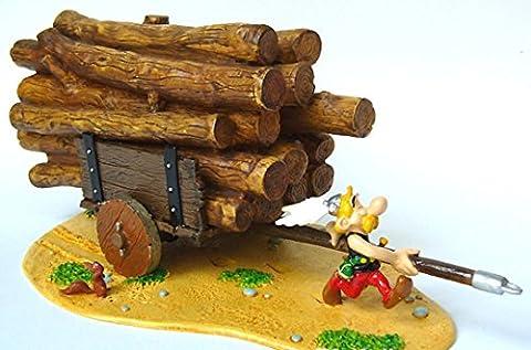 figurine , Astérix tirant la charrette de tronc d'arbre- H. 9 cm -Fabricant : Pixi - Matière : Plomb - Année : 2005 - edition Limité : 300 Ex Numéroté : Oui
