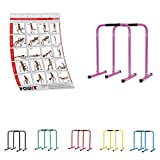 POWRX Dip Barren (Paar) inkl. Workout | Push Up Stand Bar | Dip Station | Fitness Rack | Core Trainer (Pink, 76 x 57 cm)